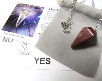 Pendulums, Dowsing, Red Jasper, Gift, Meditation, Chakra, Reiki, Yoga, Feng Shui, New Age, Metaphysical