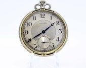 18K Longines Pocket Watch with Flowers an Black and White Enamel