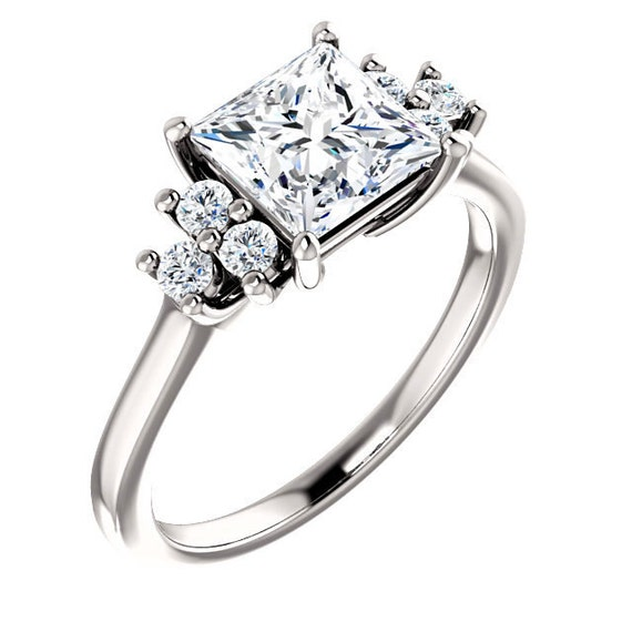 princess cut 1 68 ctw engagement ring cluster side