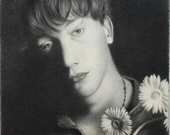 Graham/Flower (Art Print from Original Pencil Drawing)