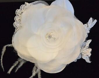 Organza Hair Flower , Wedding Hair Flower