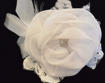 Chiffon Ivory and vintage lace Flower