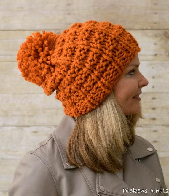 Pom Pom Beanie Knitting Pattern : PDF KNITTING PATTERN, Chunky Pom Pom Beanie Knitting Pattern, Knit Pom Pom Ha...