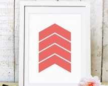 30% OFF SALE Chevron art, Coral chevron wall art, Coral arrow print, chevron decor, printable, geometric art, Coral chevron print