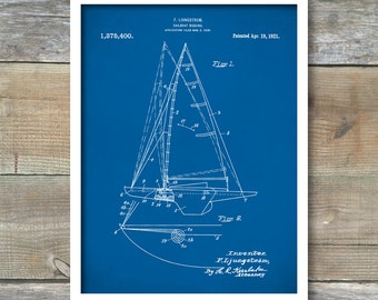 Patent Print, Sailboat Poster, Sailboat Patent, Sailboat Print, Sailboat Art, Sailboat Decor, Sailboat Wall Art, Sailboat Blueprint, P207