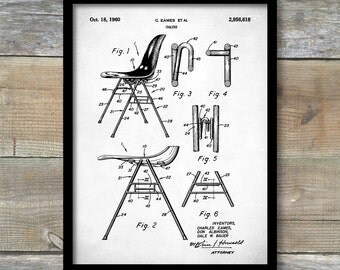 Eames Patent, Eames Chair Patent Poster, Eames Chair, Charles Eames, Charles and Ray Eames, Eames Art, Mid Century Furniture Wall Art, P209