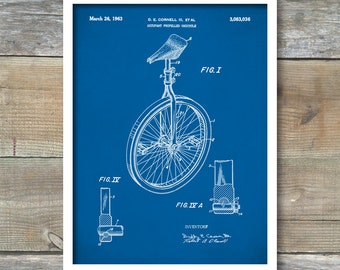 Unicycle Art Print, Patent, Unicycle Vintage Art, Blueprint, Poster, Patent Prints, Wall Art, Bicycle Décor, P211