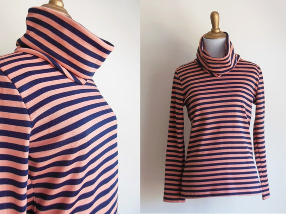 French sailor turtleneck 1970s coral pink navy blue for Striped french sailor shirt