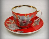 Vintage Russian Tea Set for One, Baranovsky Porcelain Cup Saucer , Red Orange , 1970s , from Russia / USSR
