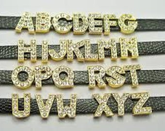 You Choose Any 12 Gold with Rhinestone 8mm Slide Charm Letters with Fast and FREE US Shipping!