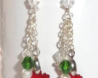 Crystal Christmas Dangle Earrings