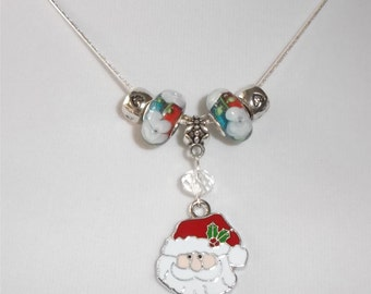 Enameled Santa and Murano glass Necklace