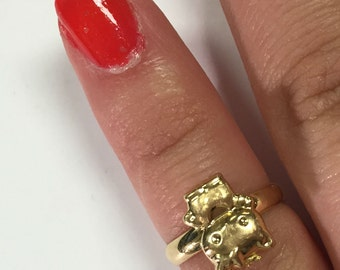 Custom Hello Kitty Ring 14k Yellow Gold