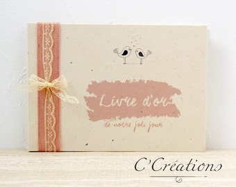 Guestbook { Love Bird } for your wedding colors and pink ivory