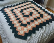 Baby or child blanket, spiral afghan, crochet throw, granny square bedspread, bedding, shower gift, birthday present