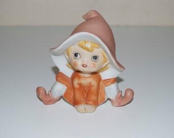 Homco Fairy Pixie Elf Orange Peach Ceramic Figurine