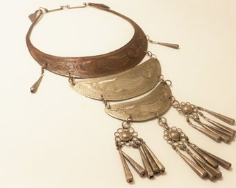 Vintage Tiered Silver Tone  Metal Bib Large Statement Necklace