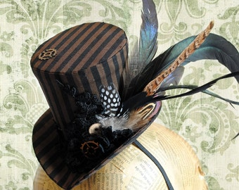 Steampunk Striped Mini Top Hat,Victorian Tea-party Mini Top Hat with Feathers,Steampunk Wedding Hat-Custom-Made to Order