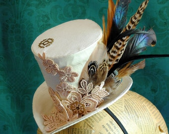 Steampunk Bridal Mini Top Hat in Beige- Victorian Tea-party Mini Top Hat with Feathers - Steampunk Wedding - Ready to Ship