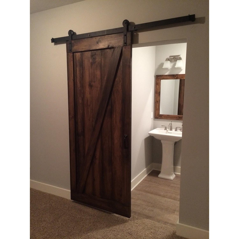 Vintage Custom Built Sliding Barn Door Z Design Walnut