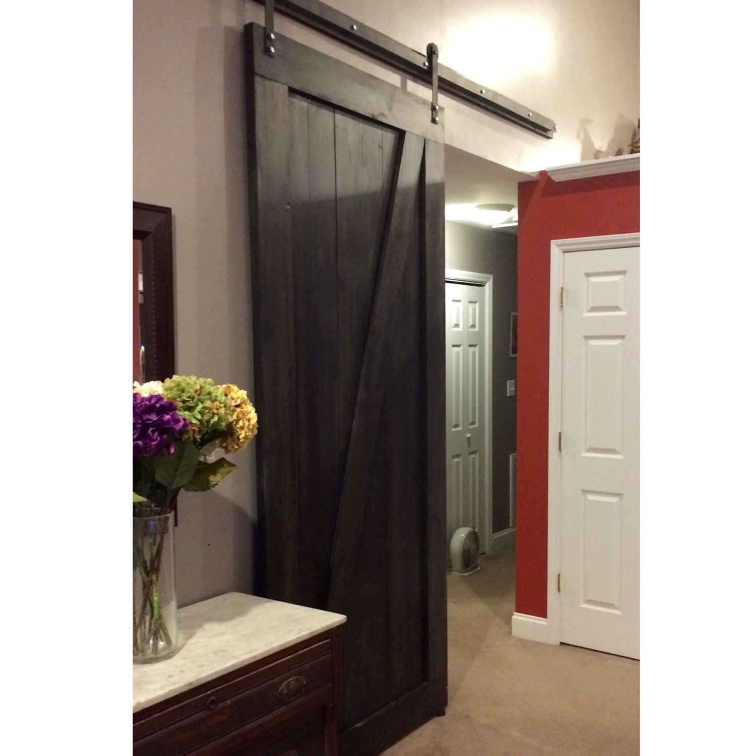 Custom made sliding barn door z design onyx