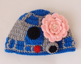 R2D2 Hat Costume From Star Wars For Girl Premie, Newborn, Child, Teen, Adult - Halloween Wig / Cosplay Wig