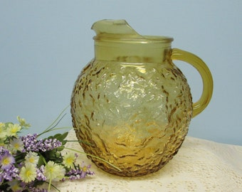 Amber Glass Pitcher ~ Anchor Hocking Milano Lido ~ Ball Pitcher ~ Anchor Hocking Amber Glassware ~ Crinkle Design ~ 1960's
