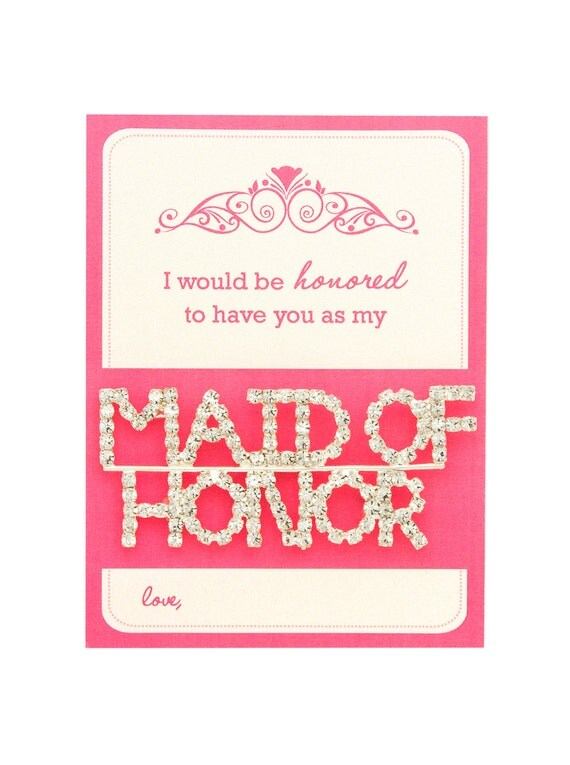 Wedding Day Gift For Bride From Maid Of Honor : Honor Pin, Maid of Honor Gift, Bridal Party Gift, Bridesmaid, Wedding ...