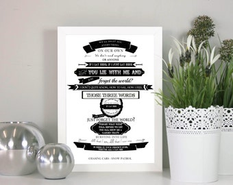 Chasing cars - Snow Patrol - Illustrated Song Lyrics - Great for a Wedding, Anniversary or Birthday Present.