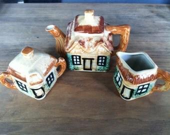 cottage ware tea set teapot sugar creamer