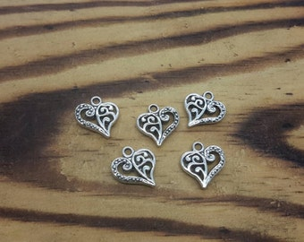 20 pcs Antique Silver Filigree  Heart,  Silver Heart Charms 13 x 14 mm