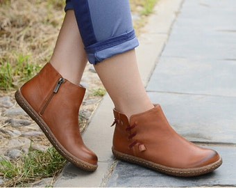 Handmade Flat Shoes for Women, Oxford Shoes, Ankle Booties,Women Leather Shoes Very Comfortable
