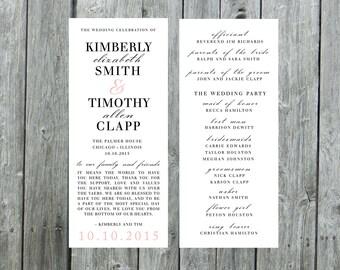 Wedding program, skinny wedding program, tall program, ceremony program