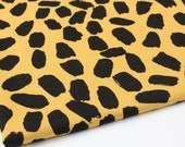 French Baby Terry Knit Fabric Leopard Mustard By The Yard