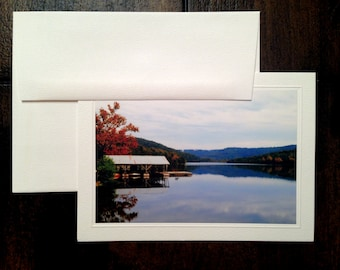 Handmade Card, photo note cards, AUTUMN LAKE, greeting cards, 5 x 7 blank note cards, photo cards, photography cards