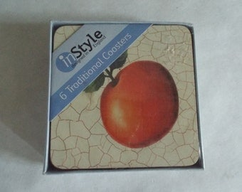 In Style 6 Traditional Coasters - New in Package with orange NIB Gift under 10, Fruit, Oranges, Apples Housewarming gift