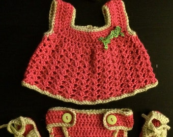 Summer Crocheted Baby Dress Set