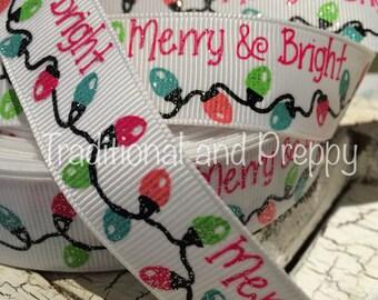 """3 yards 7/8"""" Merry Bright Glitter Christmas Bulb Light grosgrain ribbon"""