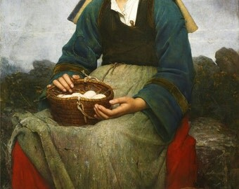 A Young Girl Holding a Basket of Eggs - Counted cross stitch pattern in PDF format