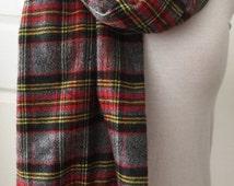 Unisex  Ladies Mans Soft Warm Flannel Plaid Handmade Long Rustic Frayed Fringed grey red yellow Scarf
