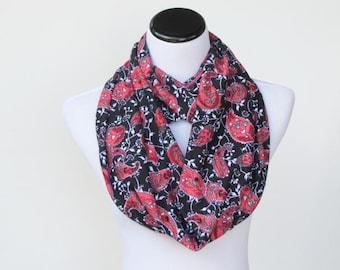 Paisley infinity scarf black coral red Oriental loop scarf Bohemian Mediterranean circle scarf - feminine snood scarf