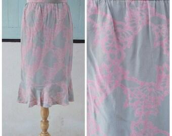 1980s vintage pink and grey high waist skirt / fish tail skirt / silk skirt /midi skirt size medium