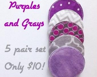 Purples and Grays, cloth nursing pads, reusable nursing pads, eco-friendly maternity, breast feeding, new mom gift