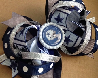 Dallas Cowboys Football Stacked Hair Bow Ready To Ship