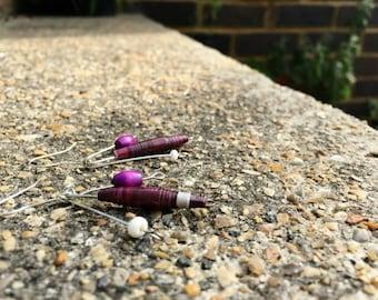 Handmade upcycled purple paper bead earrings