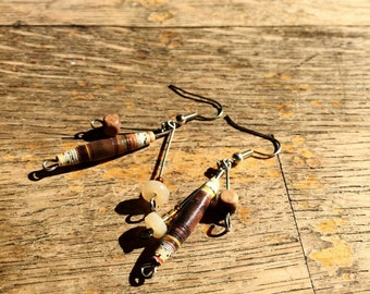 Handmade Upcycled/recycled Brown Paper Bead Earrings, eco friendly jewelry, paperbead jewellery
