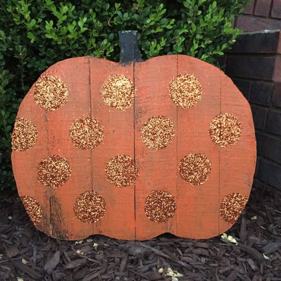 Wooden Pumpkinn l Fall or Halloween Wooden Pumpkin in Orange Glitter Dots