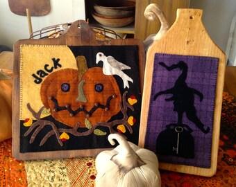Primitive Wool Applique Halloween Charmed