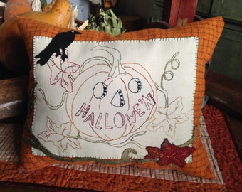 Primitive Stitched Halloween Wool Applique Pattern