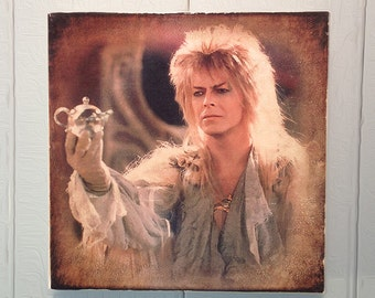 """Labyrinth, Jareth the Goblin King / David Bowie with crystal ball teapot, handmade 8""""x8"""" wooden wall art"""